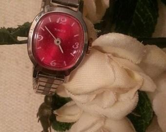 Red Dial Wristwatch, Windup Watch, Ladies Timex Vintage Wristwatch, Speidel Silver Stretch Band, CLEARANCE