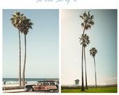 Art, Photos, So Cal Set of 2, Large Wall Art, Photography,Pacific Coast Highway, Woodie, California, Lifeguard, Vintage Color,Coastal Prints