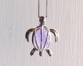 Sea Glass Turtle Purple Lavender Locket  Sterling Silver Honu