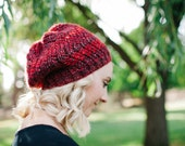Knitted Slouch Hat in Ruby Red blends,  Slouchy Beanie Hat, Womens Knit Beret, Red Beanie Slouch