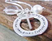 personalized grandmother necklace sterling silver blended family grandma necklace