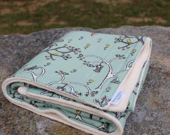 Organic Sherpa Baby Blanket | Organic Cotton Blanket | Opossum & Ducks Blanket | Handmade Blanket | Heirloom Blanket | Eco friendly Blanket