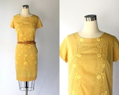 RESERVED // 1960s Embroidered Cotton Shift Dress // 60s Vintage Goldenrod Yellow Short Sleeve Day Dress // Large