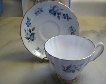 Vintage Tea Cup & Saucer, 1960s White Bone China, Delicate Blue Flowers 8183, Gold Leaf Trim, Colclough Ridgway Potteries Ltd. England 1 set