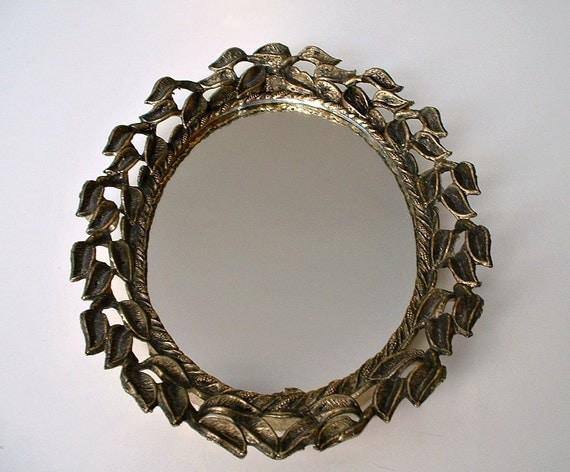 Vintage Mirror Ornate Oval E. A. Riba Brooklyn N.Y. Gold