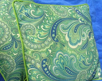 Pillow Cover, outdoor fabric, 18 x 18 inches, blue and green paisley pattern, contrast piping
