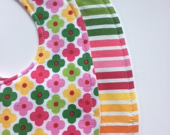 Baby Girl Bibs-  Teething Bibs -  Flowers and Stripes, Triple Layer Bibs, Snap Closure - cotton bib -