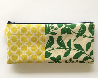 Echino Fall Patchwork Fabric. Pencil case, pencil pouch, zipper pouch. Makeup pouch.