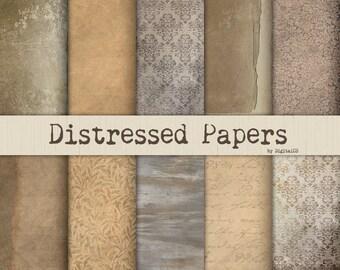 Distressed grunge digital paper Vintage digital paper Rustic digital paper Grunge scrapbook paper grunge textures distressed paper