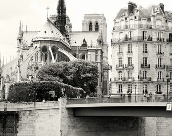 Paris Photography - Notre Dame Art Print - Black and White Photography - French Architecture - Gothic Art - Ile de la Cite Photo - Paris Art