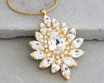 Crystal white Necklace,Swarovski Bridal necklace,Crystal Statement Necklace,vintage style Swarovski Jewelry,Bridesmaids Crystal Necklaces