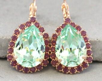 Mint Drop Earrings,Swarovski Crystal Earrings,Mint Crystal Drop Earrings,Mint Purple Earrings,Bridesmaids Earrings,Bridal Crystal Earrings