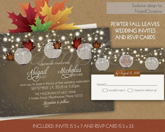 Rustic Fall Wedding Invitations: Items Similar To Rustic Fall Wedding Invitations Set With