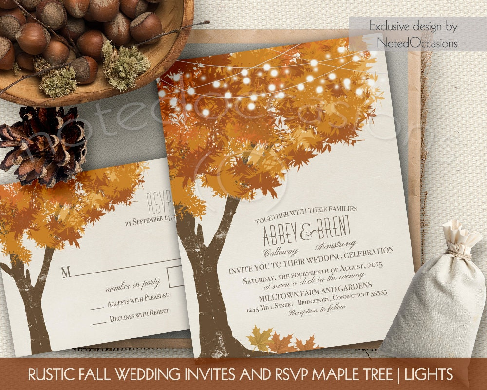 Printable Wedding Invitations Kits: Rustic Fall Wedding Invitations Kit Autumn Oak By