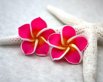 Pink Flower Earrings, Floral Earrings, Tropical Flower Pink Earrings, Plumeria Frangipani Flower Jewelry Hawaiian Jewelry Hawaii Jewelry 035
