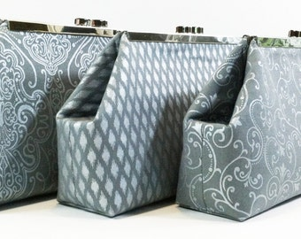 Metallic Silver Bridesmaid Clutches, Wedding Clutch, Bridal Party Gifts, Personalized Bags, Wedding Party Bags