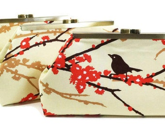 Bridesmaids Clutches Choose Your Fabric Orange Set of 5