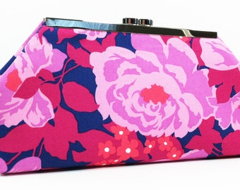 Clutch Bag Purse - Purple Coral Pink Flowers, Gift for Wife