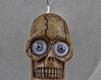 Handmade Skull with Glass Eyes on  Brass Necklace Goth Biker Humor Day of the Dead