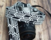 dSLR Camera Strap - Hipster Camera Strap - Black and White Sunprint Feathers - Gift for Wedding Photographer