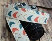 dSLR Camera Strap - Slate Blue and Coral Pink Arrows - Arrow Camera