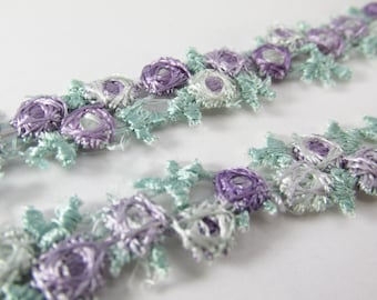 Easter Pastel Embroidered Flower Galloon Trim in Mint Green Aqua and Lavender - 1 yard