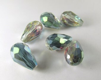 Multicolor Clear Green Pink Vitrail Colorized 14 x 10mm (6 beads) or 12 x 8mm (7 beads) Faceted Chinese Crystal Teardrop Jewelry Beads