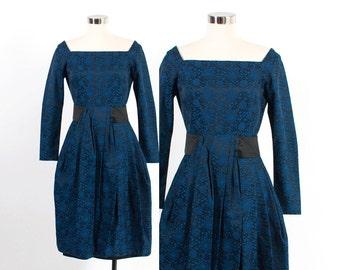 Vintage 50s DRESS / Vintage 1950s Black & Blue Brocade Cocktail Dress XS