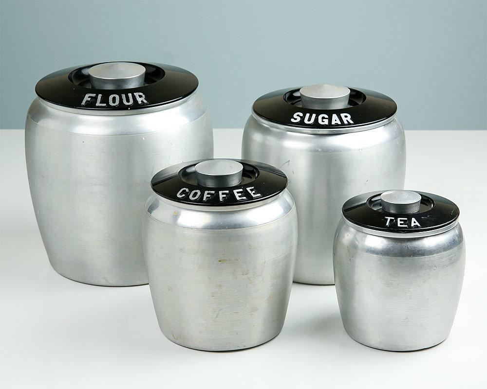 vintage kromex canisters flour sugar coffee tea art deco. Black Bedroom Furniture Sets. Home Design Ideas