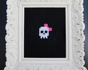 Skull & Bow Cross-Stitch Mini