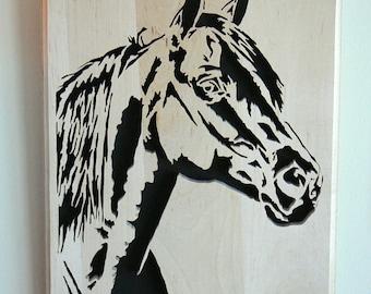 Horse Wood Portrait Wall Plaque