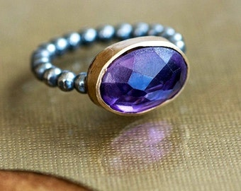 Amethyst Gold ring ,Gemstone ring ,Oval ring ,Classic ring ,Casual ring ,Solitaire ring