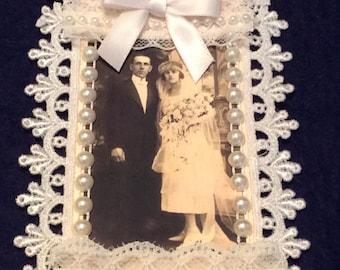 Wedding Tag, Vintage Tag, Bridal Shower Tag, Bride and Groom Tag, Lace Tag, OOAK