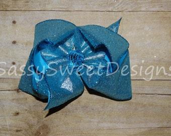 SSD Solid AQUA BLUE Glitter Boutique Hairbow Sassy Sweet Designs Custom