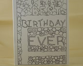 Adult Coloring - Color Your Own - Birthday Card - Best Birthday Ever