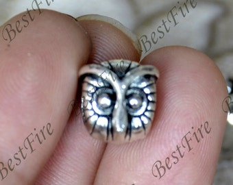 10 pcs 10x11mm Antique silver owl Interval beads, owl metal beads,owl Connectors findings beads,jewelry findings