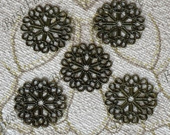 8 pcs 23mm Antique Bronze flower Brass filigree,feather Jewelry Connectors Setting,Cab Base,Connector Finding,Flower Findings