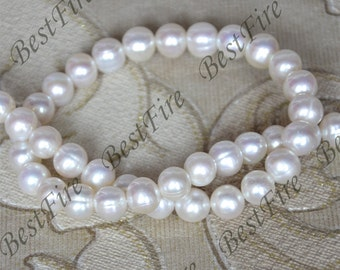 9mm AA Luster Pure White Freshwater pearls,White Pearl Beads,loose bead full strand 15inch