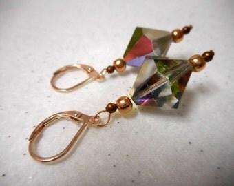 Swarovski Earrings, Crystal Earrings, Vintage Earrings, Vitrail Earrings, Rose Gold Earrings