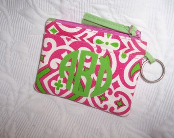 Monogrammed Zip ID Coin Purse with Keyring