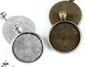 10Pcs 25mm Antique Bronze/Antique Silver/ Cabochon Setting Cameo Base frame Base for making necklaces  pendants(SETHY-252.253)