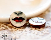 20% off - NEW Unique 3D Embossed Face Lips 16mm Round Handmade Wood Cut Cabochon to make Rings, Earrings, Necklaces, Bracelets-(WG-303)