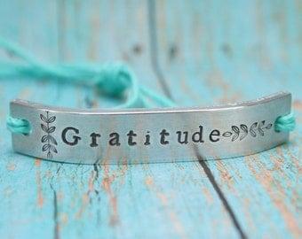 GRATITUDE Friendship Bracelet ONE Custom Hand Stamped Name Tie On Hemp Cord Personalized