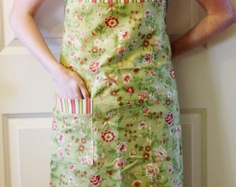 Full Butcher Apron in Green Floral and Stripes - Women's Full Apron, Cooking Apron, Woman's Apron, Simple Apron