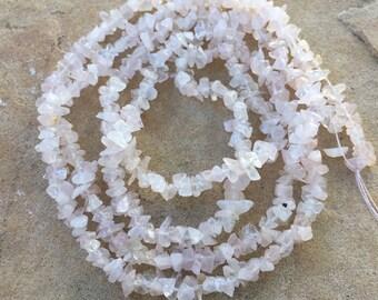 Rose Quartz Chip Beads, 34 inch strand, 3 to 6mm