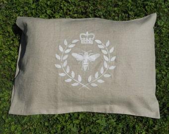 Linen Pillow Case (1 pillow case) - Chalkboard - Bee in a Wreath - Standard Size - Linen