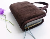 Bible Cover BAG with Handles, NWT Regular Size JW Bibles, in Brown Chenille Velvet,  by Vic Von Pip