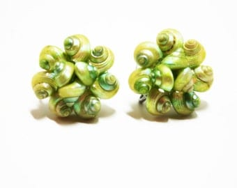 Cluster Earrings- Lime Green Shells- Screw Earrings- 50s Fashion- Shell Clusters- Beach Jewelry- Boho Jewelry- Natural Shells