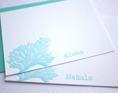 Letterpress Stationery Feathery Coral Aloha Mahalo Hawaii