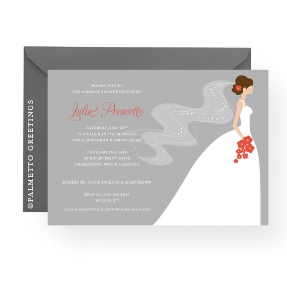 PRINTABLE - Bridal Shower Invitation - Customize brides skin tone, hair, dress, flowers and background colors (Beautiful Bride)